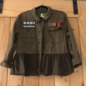 Anthropologie Peplum Beaded Military Jacket